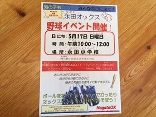 5月17日(日曜日)野球イベント開催します!