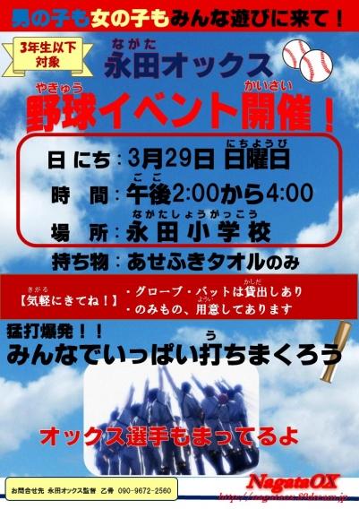永田オックス野球イベント開催します!【3月29日 日曜日⚾】